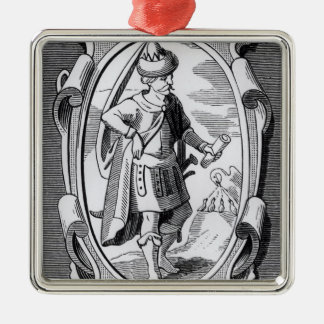 Der Alchemist Geber Quadratisches Silberfarbenes Ornament