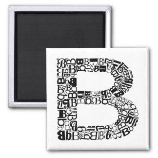 Der Alphabet-Buchstabe B Quadratischer Magnet