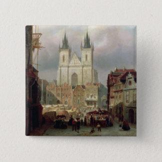 Der alte Marktplatz in Prag, 1881 (Öl auf canva Quadratischer Button 5,1 Cm