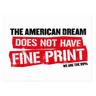 Der amerikanische Traum hat nicht Klein Gedruckte Postkarte