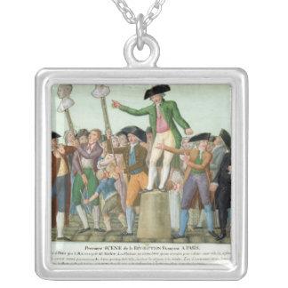 Der Anfang der Französischen Revolution Halskette Mit Quadratischem Anhänger