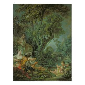 Der Angler, 1759 Postkarte