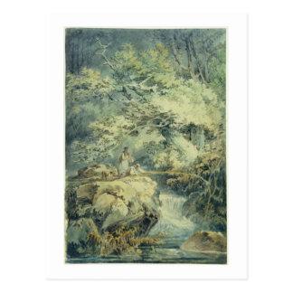 Der Angler 1794 w c über Graphit auf Papier Postkarten