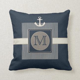 Der Anker-Monogramm des Leinwand-Effekt-Seeschiffs Kissen