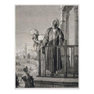 Der Anruf des Muezzins zum Gebet, 19. Jahrhundert Postkarte
