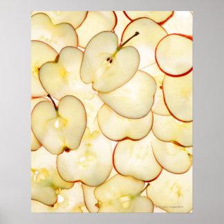 der Apfel schneidet von hinten beleuchtetes und ve Poster