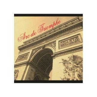 Der Arc de Triomphe Frankreich Sepia-Vintage Holzleinwand