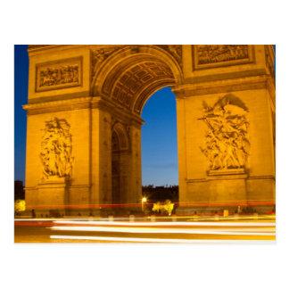 Der Arc de Triomphe nachts Postkarte