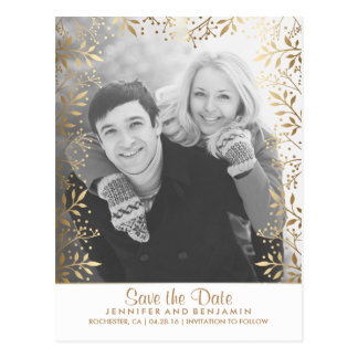 Der Atem-Goldweißes Foto des Babys Save the Date Postkarte