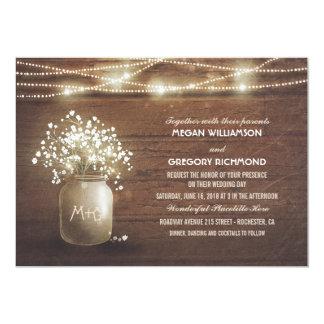 Der Atem-Maurer-Glas-rustikale Vintage Hochzeit 12,7 X 17,8 Cm Einladungskarte