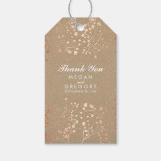 Der Atem-Rosen-Gold des Babys und Brown-Hochzeit Geschenkanhänger