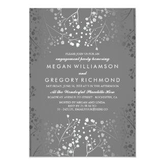 Der Atem-Verlobungs-Party des silbernen und grauen 12,7 X 17,8 Cm Einladungskarte