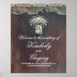 Der Atem-Weckglas-Hochzeits-Willkommensschild des Poster