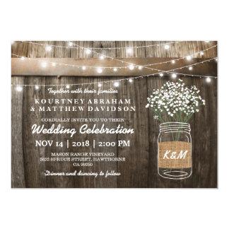Der Atem-Weckglas-Land-rustikale Hochzeit des 12,7 X 17,8 Cm Einladungskarte