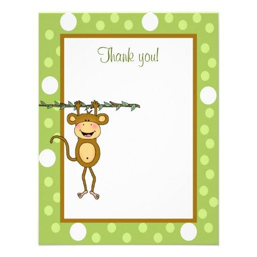 """""""Der Baby-Affe"""", der herumhängt, danken Ihnen zu Individuelle Einladungskarte"""