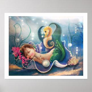 """""""der Babysitter"""". Schlafenbaby-Meerjungfrau Poster"""
