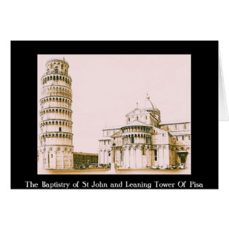 Der Baptistery von Johannes - lehnender Turm von Karte