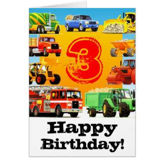 Der Bau-LKW-glücklicher 3. Geburtstag des Kindes Karte