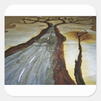 Der Baum des Lebens mit der Straße dieses Quadratischer Aufkleber