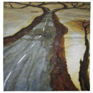 Der Baum des Lebens mit der Straße dieses Serviette