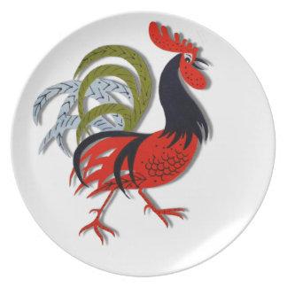 Der belebte Hahn-Cartoon fertigen Rot besonders an Flacher Teller