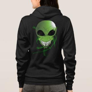 Der Bella grüner alien Frauen+Leinwand Hoodie