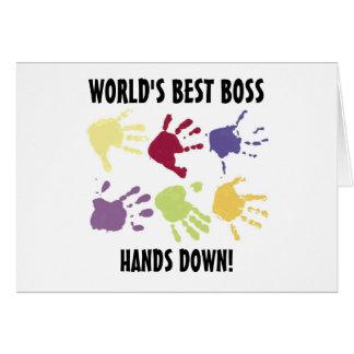 Der beste Chef der Welt übergibt unten Büro-Karte Grußkarte