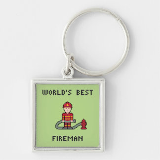 Der beste Feuerwehrmann der Pixel-Welt Schlüsselanhänger
