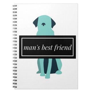Der beste Freund-Hund des Mannes Notizblock