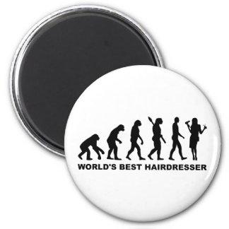 Der beste Friseur der Evolutions-Welt Runder Magnet 5,7 Cm