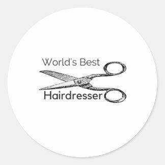 Der beste Friseur der Welt Runder Aufkleber