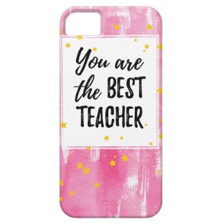 Der beste Lehrer - rosa gelbes Stern-Aquarell iPhone 5 Schutzhülle
