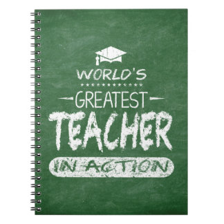 Der bestste Lehrer der Welt in der Aktion Spiral Notizblock