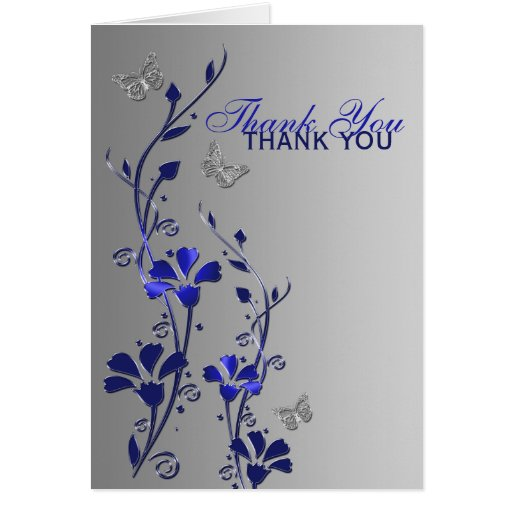 Der blaue silberne Blumen Schmetterling danken Grußkarte