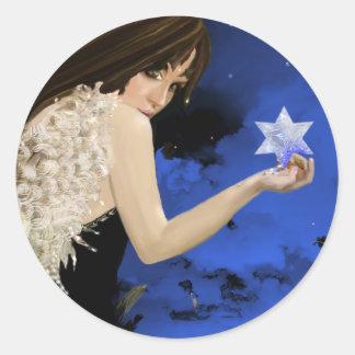 Der blaue Stern! Runder Aufkleber