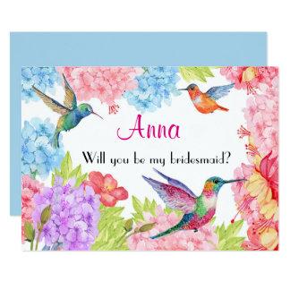 Der Blumen Kolibri ist meine Brautjungfer? 12,7 X 17,8 Cm Einladungskarte