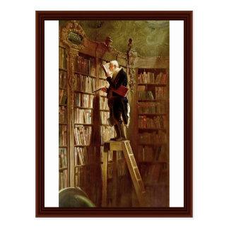 Der Bücherwurm, durch Spitzweg, Karl Postkarte