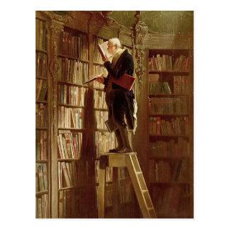 Der Bücherwurm Postkarte