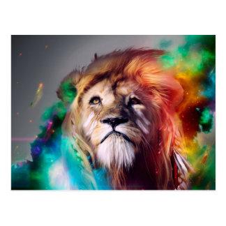 Der bunte Löwe, der oben schaut, versieht Postkarte