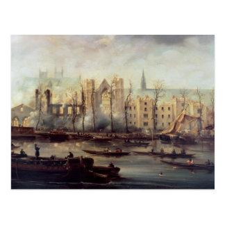 Der Burning der Häuser des Parlaments Postkarte