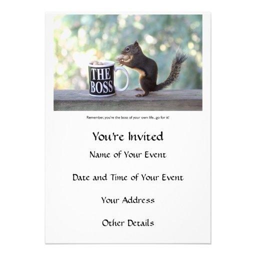 """""""Der Chef-"""" Eichhörnchen Einladungskarten"""