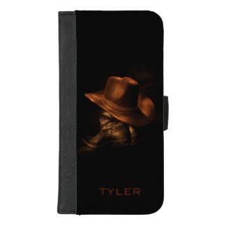 Der Cowboyhut und Lederstiefel, die männlich sind, iPhone 8/7 Plus Geldbeutel-Hülle