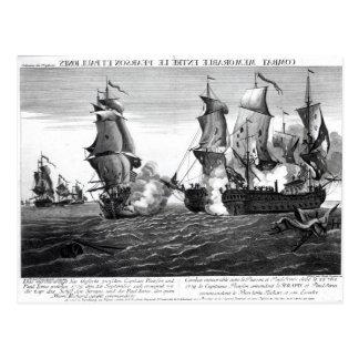 Der denkwürdige Kampf zwischen Kapitän Pearson Postkarte
