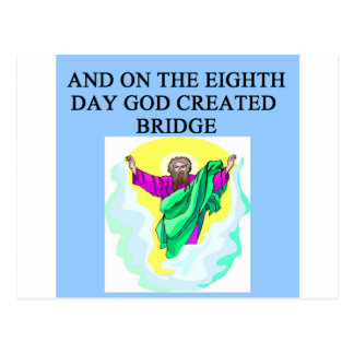der doppelte Entwurf des Bridge-Spielers Postkarte