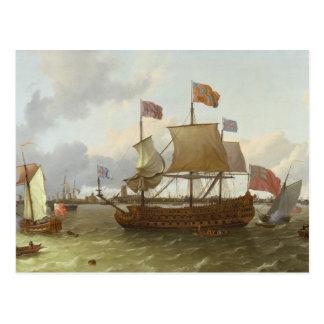 """Der Drei-Meister """"Britannia"""" in Rotterdam, 1698 Postkarte"""