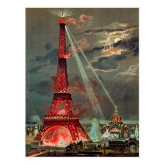 Der Eiffelturm in der roten Postkarte