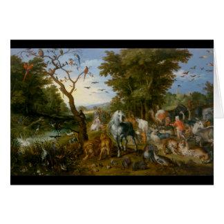 Der Eintritt der Tiere in Noahs Arche 1613 Grußkarte
