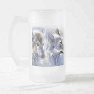 Der Eis-Wolf Mattglas Bierglas