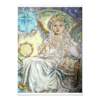 Der Engel des Weihnachten stieg 12,7 X 17,8 Cm Einladungskarte