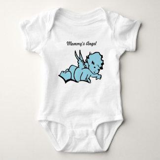 Der Engels-Bodysuit-Blau der Mama Baby Strampler